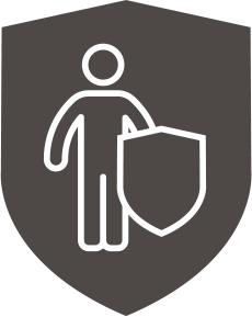 smallholder Protect insurance represented by a dark grey shield containing outline of a person holding a shield picked out in white.