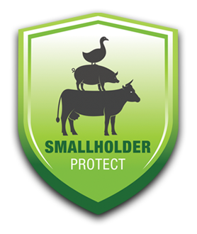 Smallholder Insurance represented by green sheild with black animal outlines