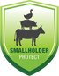smallholders insurance logo of green shield with animals - a registered mark of smallholder protect
